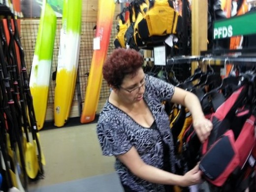 Shopping for PFD is the only way - you have to try them on