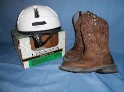 My boots and helmet - notice the heels on these boots