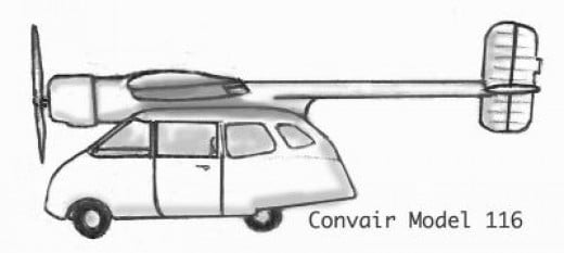 A Drawing of the only Convair Flying Car Ever Made