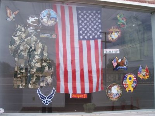 MJ's Depot Armed Forces window display