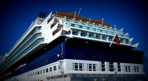 An exterior shot of the opposite or back end of the ship