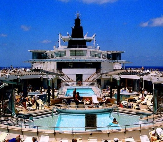 The outdoor pool deck on the Millennium