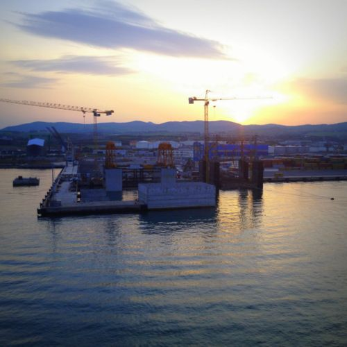 Sunrise pulling into port