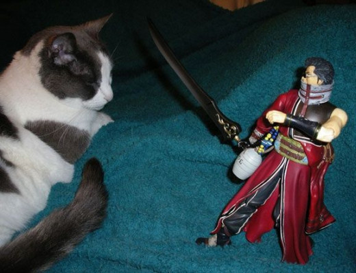 Auron fends off a coeurl. (Yes, it stayed upright posed like that.)
