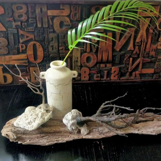 Ebay printer's block find, driftwood, coral from the beach, $1.99 vase, palm frond = decor