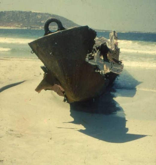 The lagoon is not always kind to ships.This photo was taken by me when I was a cadet on the SAS Saldanha Naval Gymnasium back in 1961