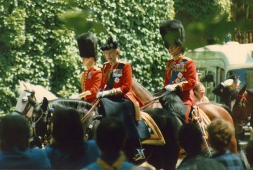 The Trooping of the Colour. Her Majesty the Queen, Prince Charles and the Duke of Edinburgh.
