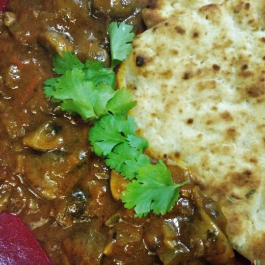 Serve mushroom curry with naan