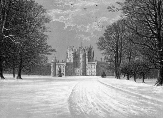 Antique print of Glamis Castle in the snow.