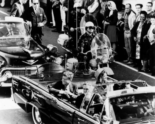 The Kennedys in the motorcade just before the shooting.