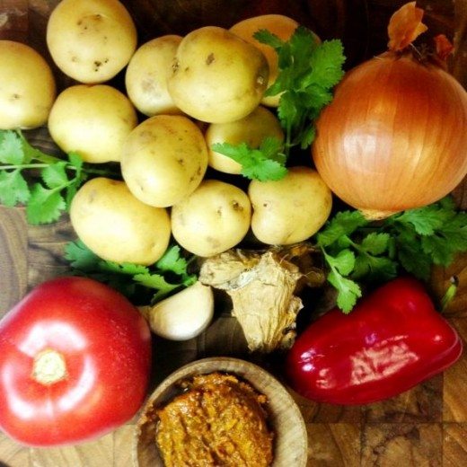 Ingredients for dum aloo style potatoes