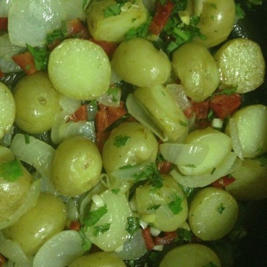 Vegetables cooking for dum aloo