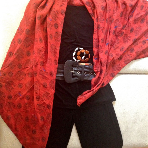 Both black garments with the sarong as a shawl. Great for dining out in the evening