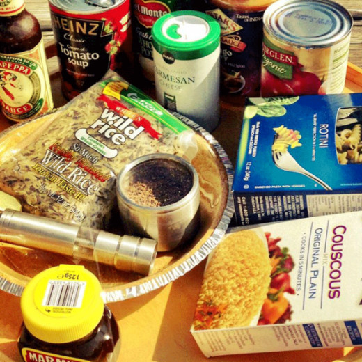 The contents of my emergency food box
