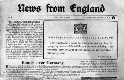 News from England was dropped by aircraft