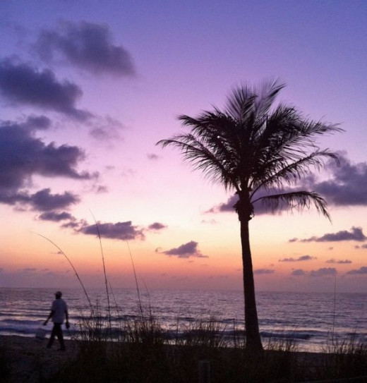 Fort Lauderdale beach workers at dawn
