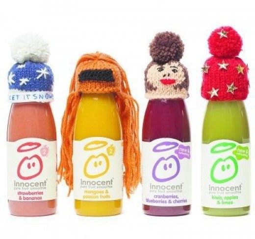 Bottles with hats (c) The Big Knit / Innocent