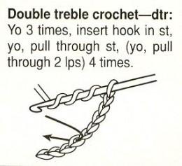 Double Triple (Treble) Crochet Stitch