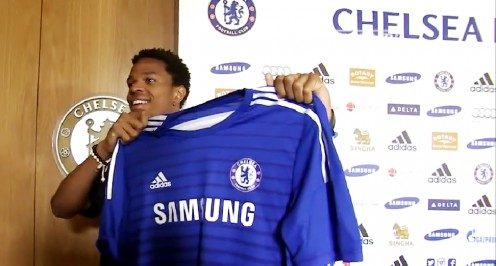 Loic Remy being unveiled as a Chelsea FC player