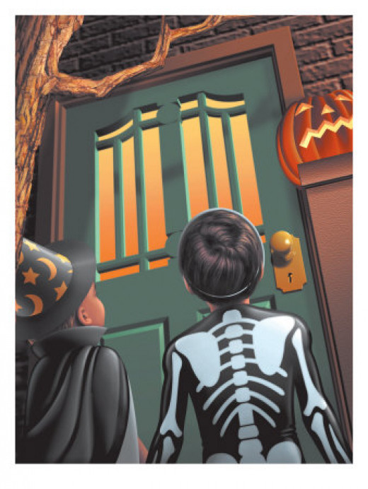 Children Approaching Front Door to Trick-Or-Treat