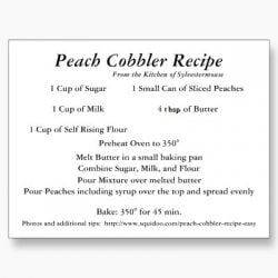 Peach Cobbler Recipe Card