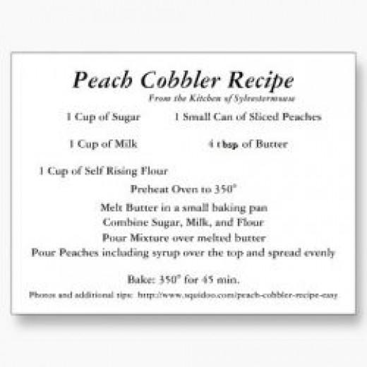 Peach Cobbler Recipe Card