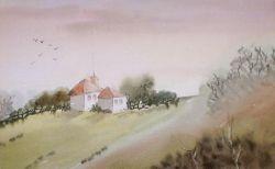 hillside cottage at sunrise