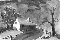 black and white watercolour sketch, tones