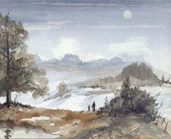 a moonlit walk, watercolour