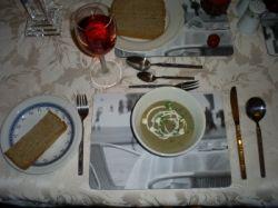 serving brown onion soup