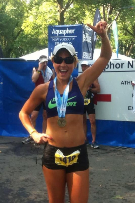 Anna Kooiman after finishing a race