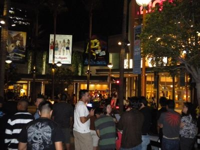 Live Entertainment - A Rock Band Played In Front Of The Movie Theaters