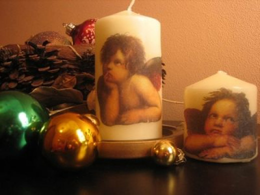 Decoupage Angel Candles