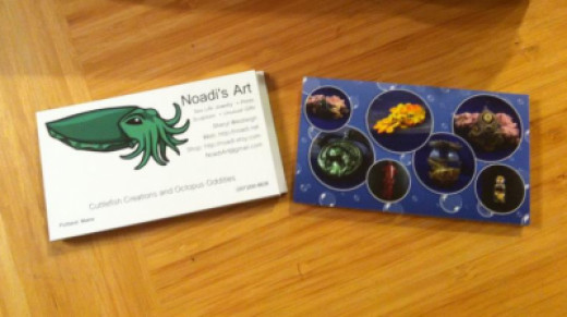 My business cards, designed myself and printed by Overnight Prints.
