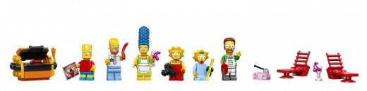 The mini-figures: Bart, Homer, Marge, Lisa, Maggie and Ned Flanders.