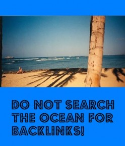 Do not search the ocean for backlinks!