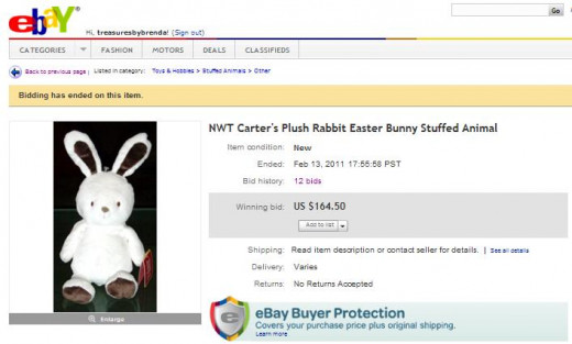 Carter's Plush Rabbit Easter Bunny Stuffed Animal