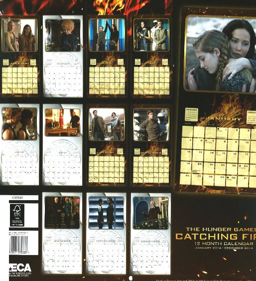 Back of Catching Fire 2014 Calendar