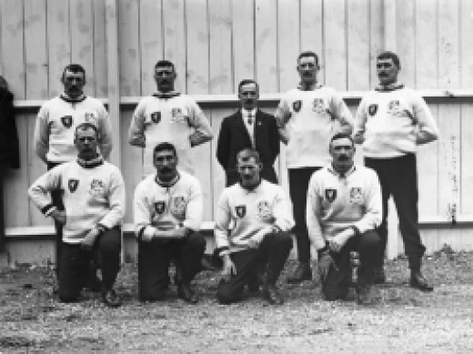 1908, depicts the Liverpool Police tug-of-war team who won the silver medal that year at the London Olympics.