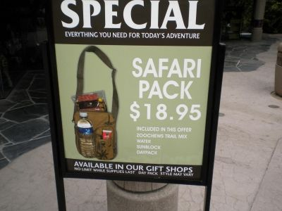 Purchase a Safari Pack for only $18.95 - Includes trail mix, water, sunblock and daypack