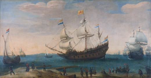 The 'Mauritius' and other East Indiamen by Hendrick Vroom, public domain