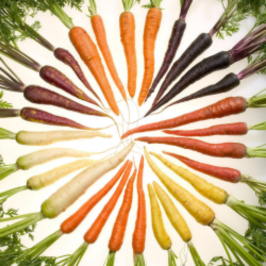 Carrots come in a wide variety of colours