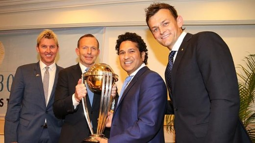 PM Tony Abbott in India. Brett Lee, Prime Minister Tony Abbott, Sachin Tendulkar and Adam Gilchrist, at the Cricket Club of India in Mumbai.