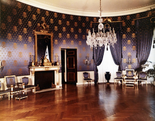 Public Domain Photo of The White House 1952 Blue Room Washington Dc