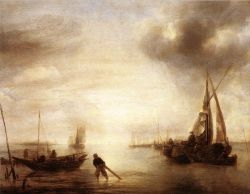 "The image ""Calm"" by Jan van de Cappelle (painted 1650–1655) is in the public domain."