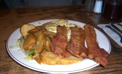 Gary's breakfast minus the toast and homemade strawberry jam
