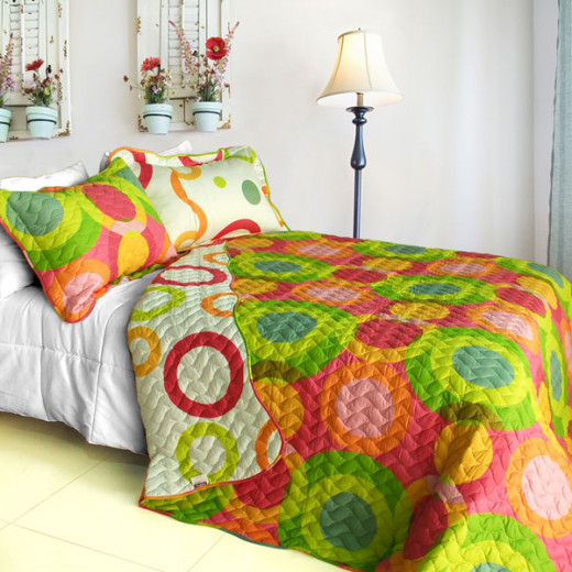 Colorful Doughnut Polka Dot Quilt Set