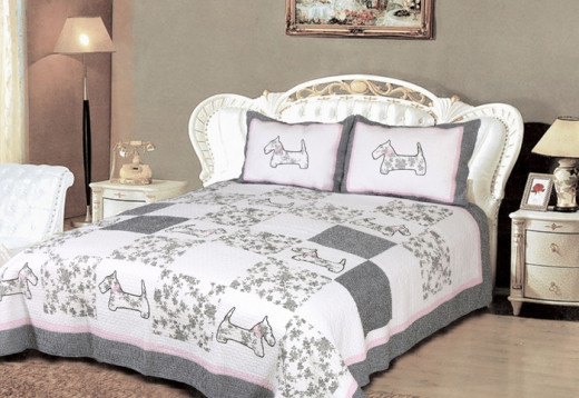 Scottie Dog 3-Piece Patchwork Quilt Set