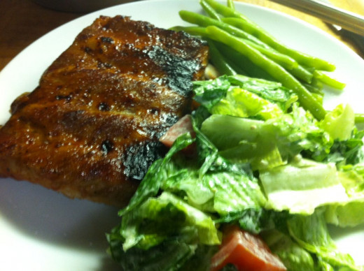 Pork ribs, Caesar Salad, Steamed green beans