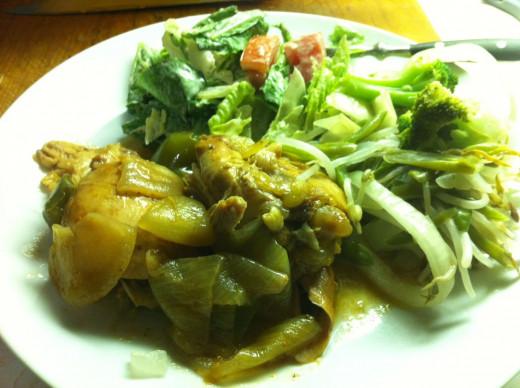 Chicken, stir fry, salad